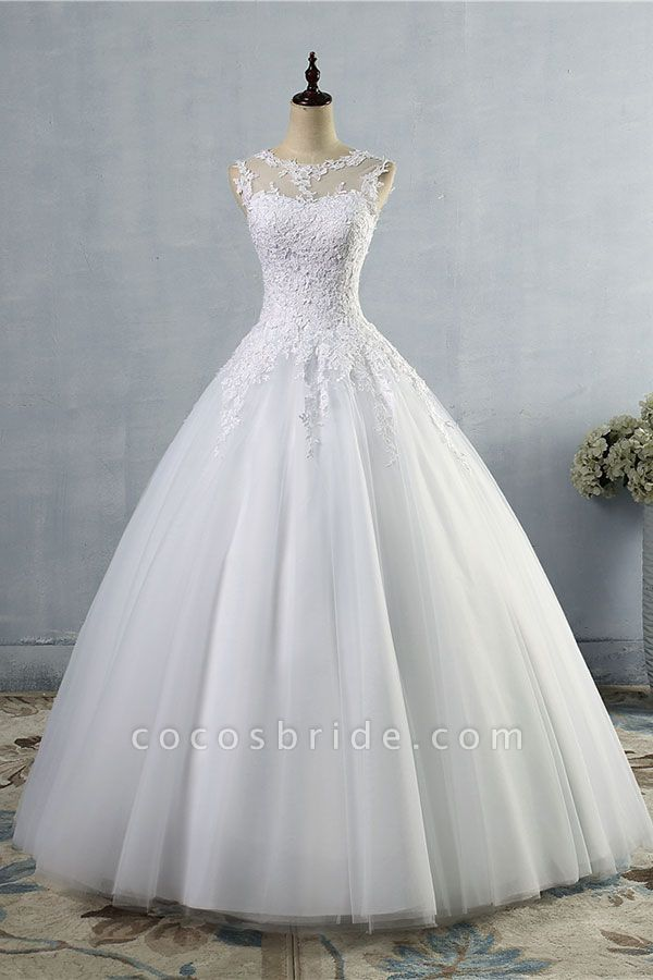 Illusion Appliques Tulle A-line Wedding Dress