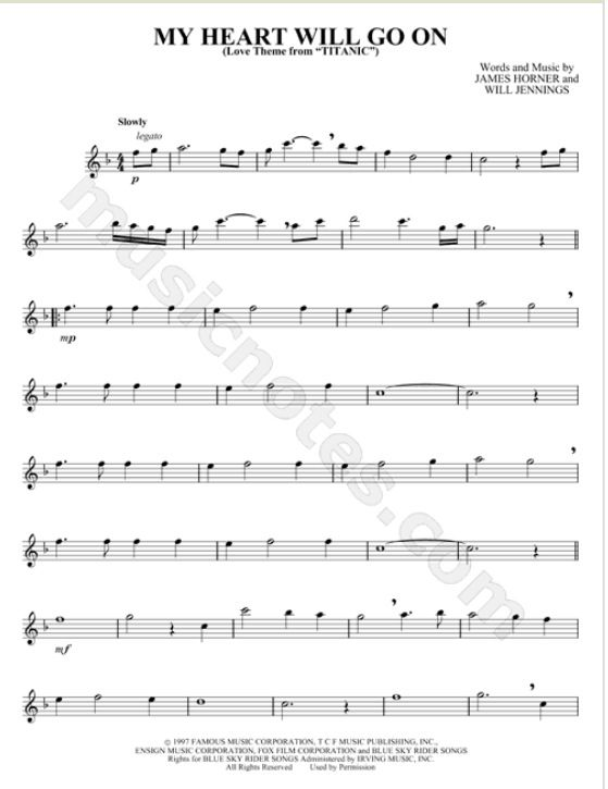Flute Sheet Music For Titanic Theme My Heart Will Go On Makes Me Want To Cry Flute Sheet Music Sheet Music Saxophone Sheet Music