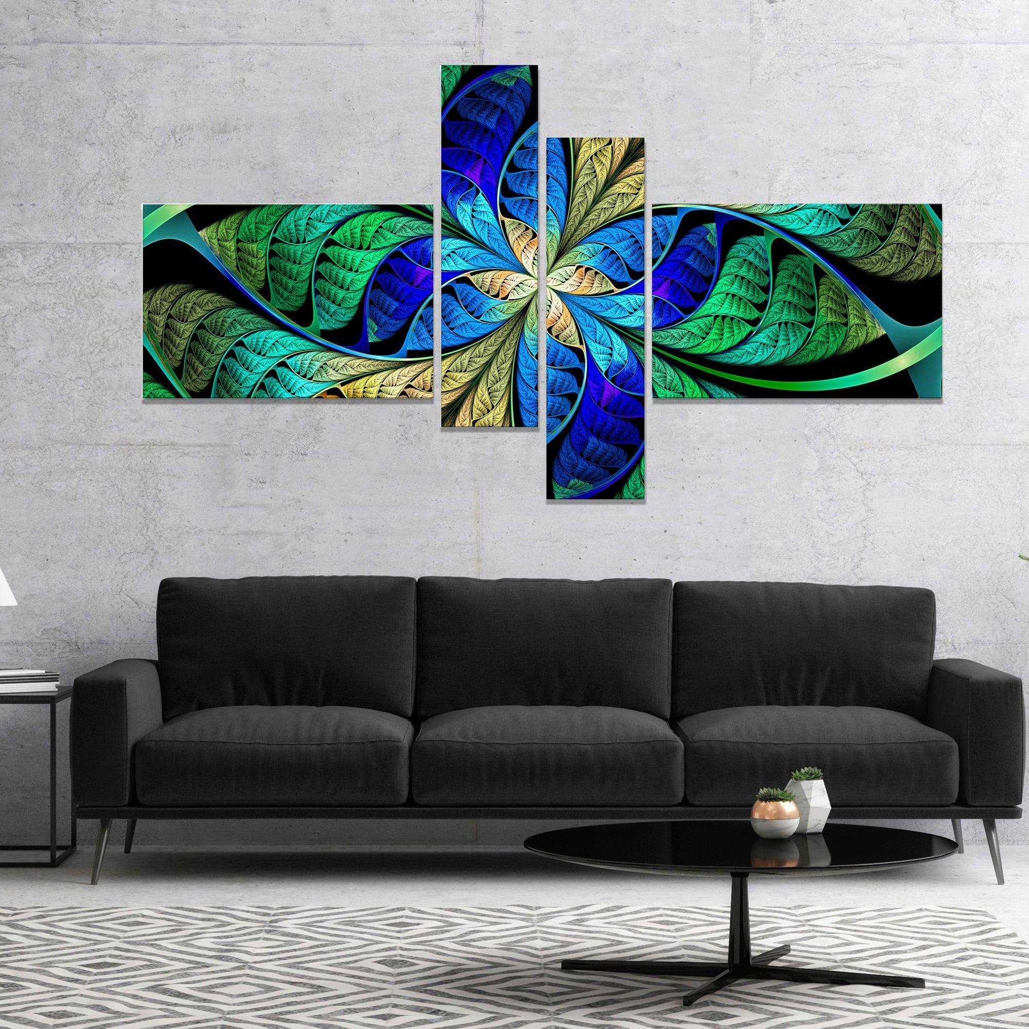 Designart ublue fractal flower petalsu abstract canvas art print