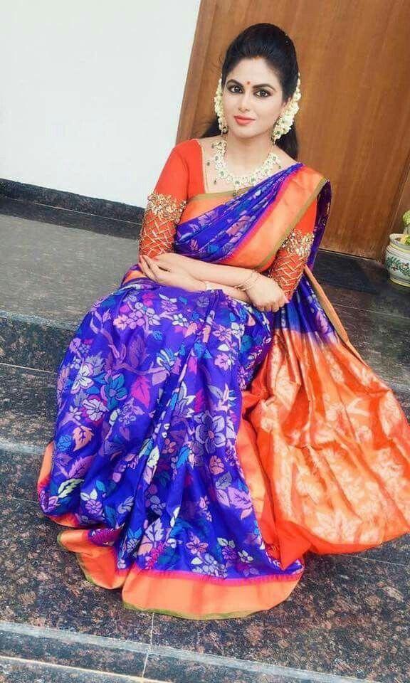 09c60ca35e Shailaja Reddy Blue Uppada Sari | Hairstyles | Saree wedding, Saree ...