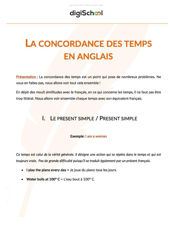 Concordance Des Temps Anglais Terminale Pro Concordance Des Temps Temps En Anglais Mots Anglais
