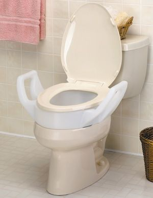 Elevated Toilet Seat With Arms 3 1 2 Elongated 3 1 2 Inch