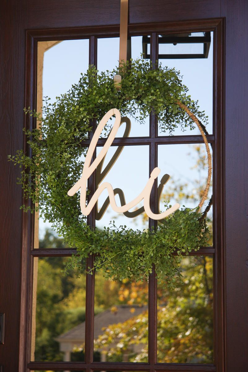 Window frame decor with wreath  welcoming wreath  hoop wreath  hi wreath  modern wreath
