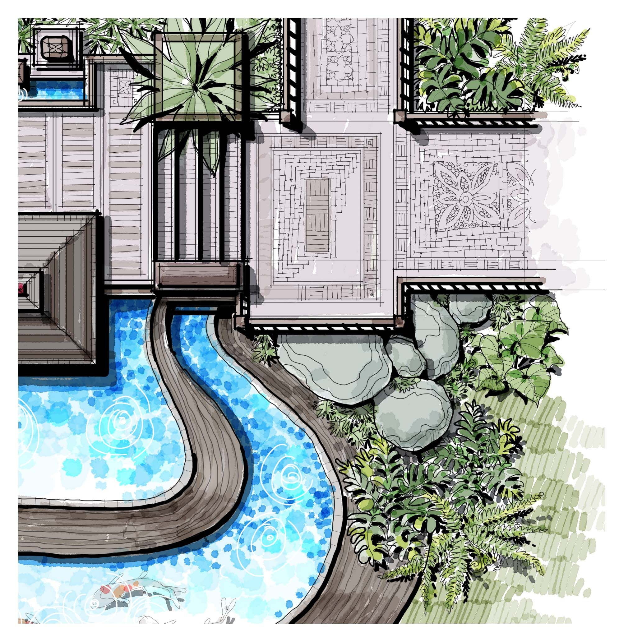 Shrubs Landscape Boulders Accent Paving Stairs Outdoor Tropical