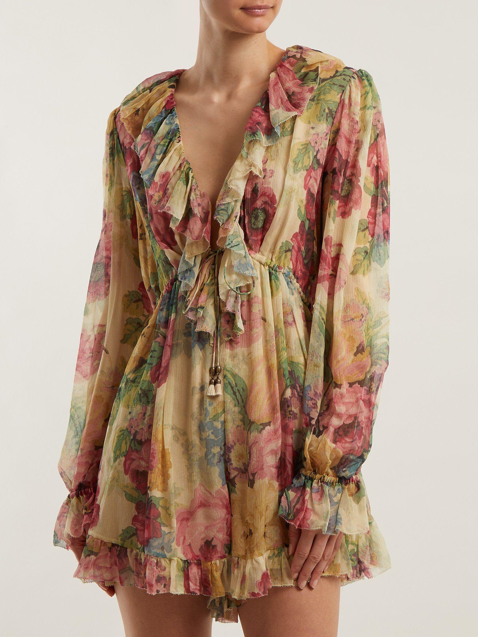 5f2fda031cf Melody Floating floral-print silk playsuit