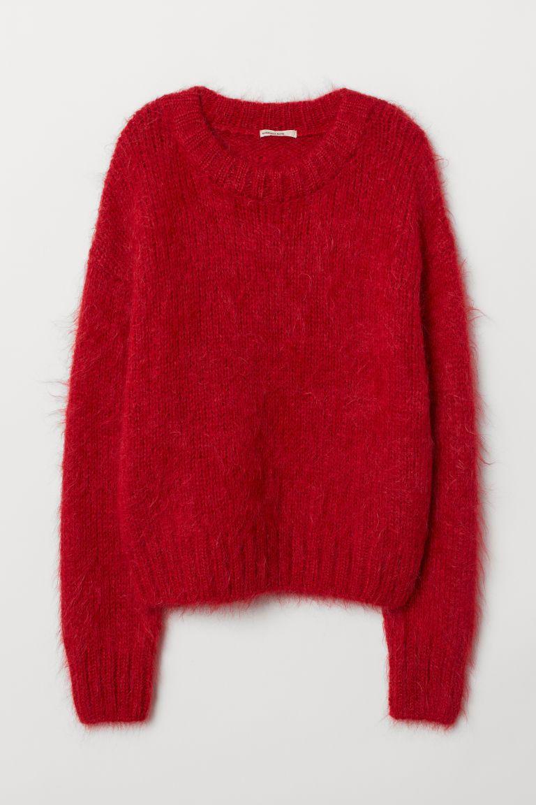 Dzhemper Iz Smesovoj Shersti Krasnyj Zhenshiny H M Ru In 2020 Women Sweaters Winter Wool Blend Sweater Sweaters For Women