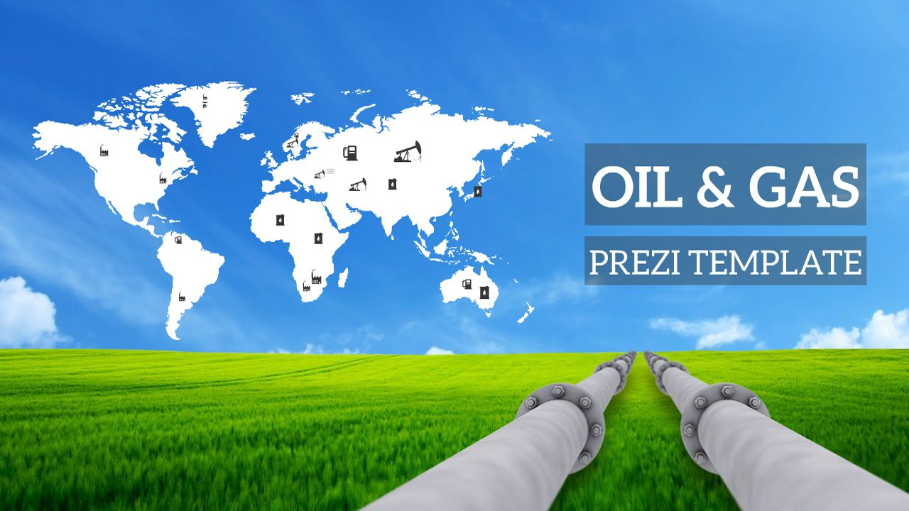 Prezi Template With An Oil Gas Related Presentation World Map On