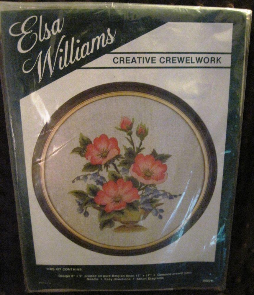 Vtg Elsa Williams Crewel Embroidery Kit Wild Roses 00076 Floral 8x9