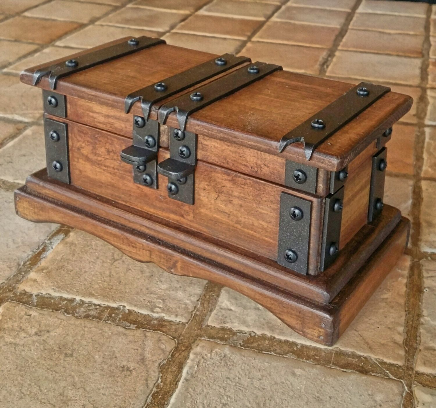 Rustic wooden jewelry box reclaimed wood treasure chest hand made in
