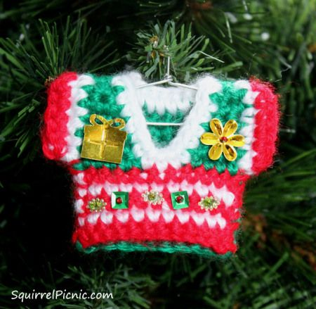 Ugly Christmas Sweater Ornament by Squirrel Picnic Christmas