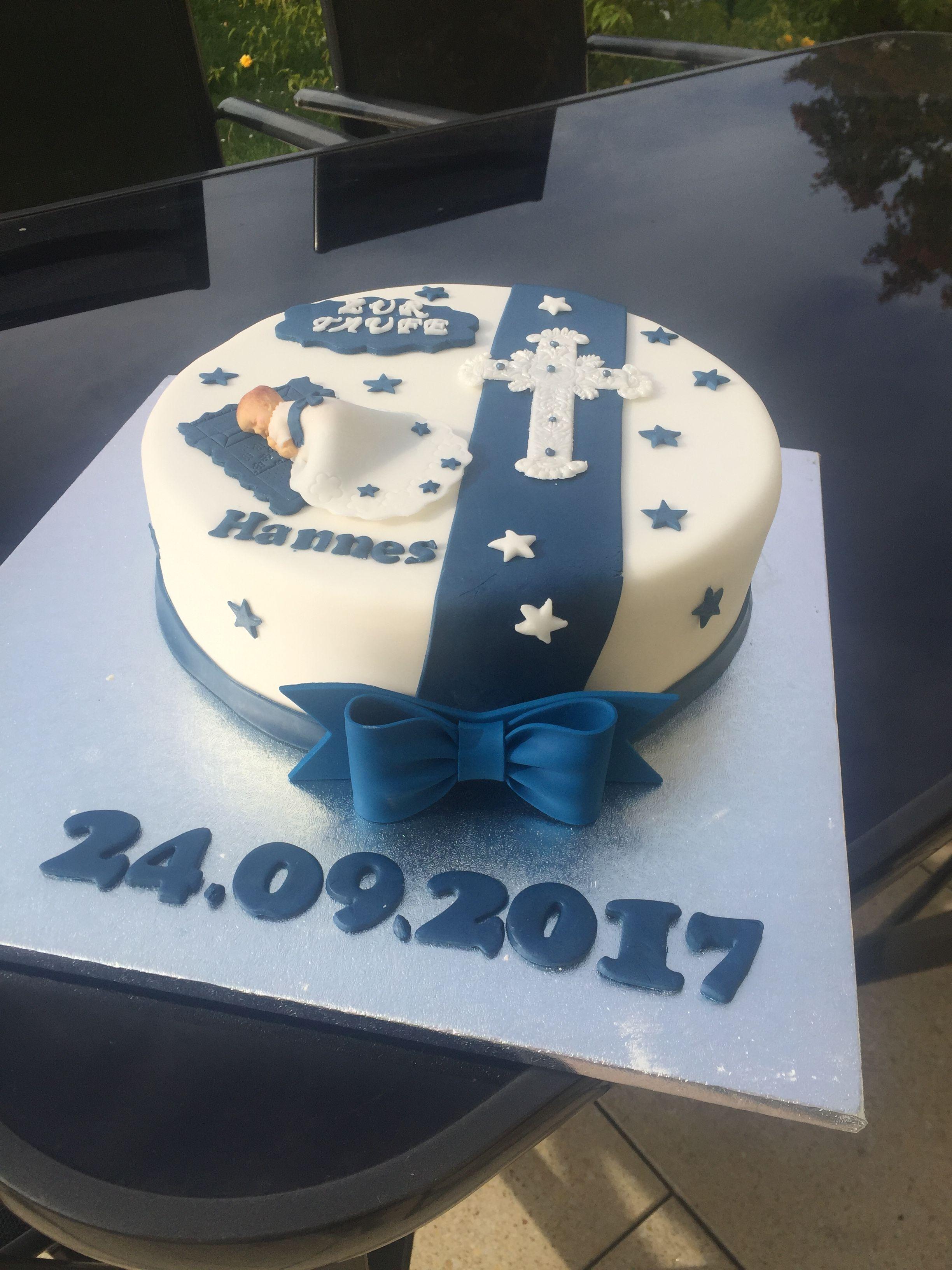 Photo of Tauftorte Junge blau Baby Cake
