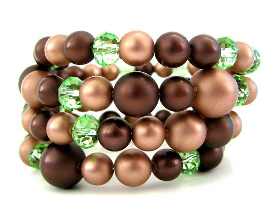 Chocolate Memory Wire Bracelet   Beaded Wrap Memory by YoungLad, $12.00