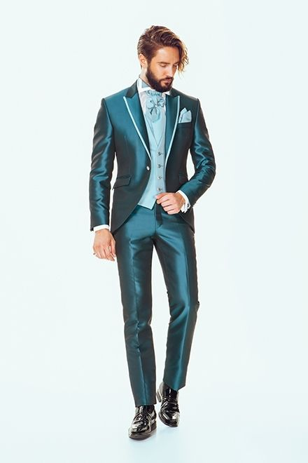 Latest Coat Pant Design Blue Satin Groom Tuxedos Italian Style Mens ...