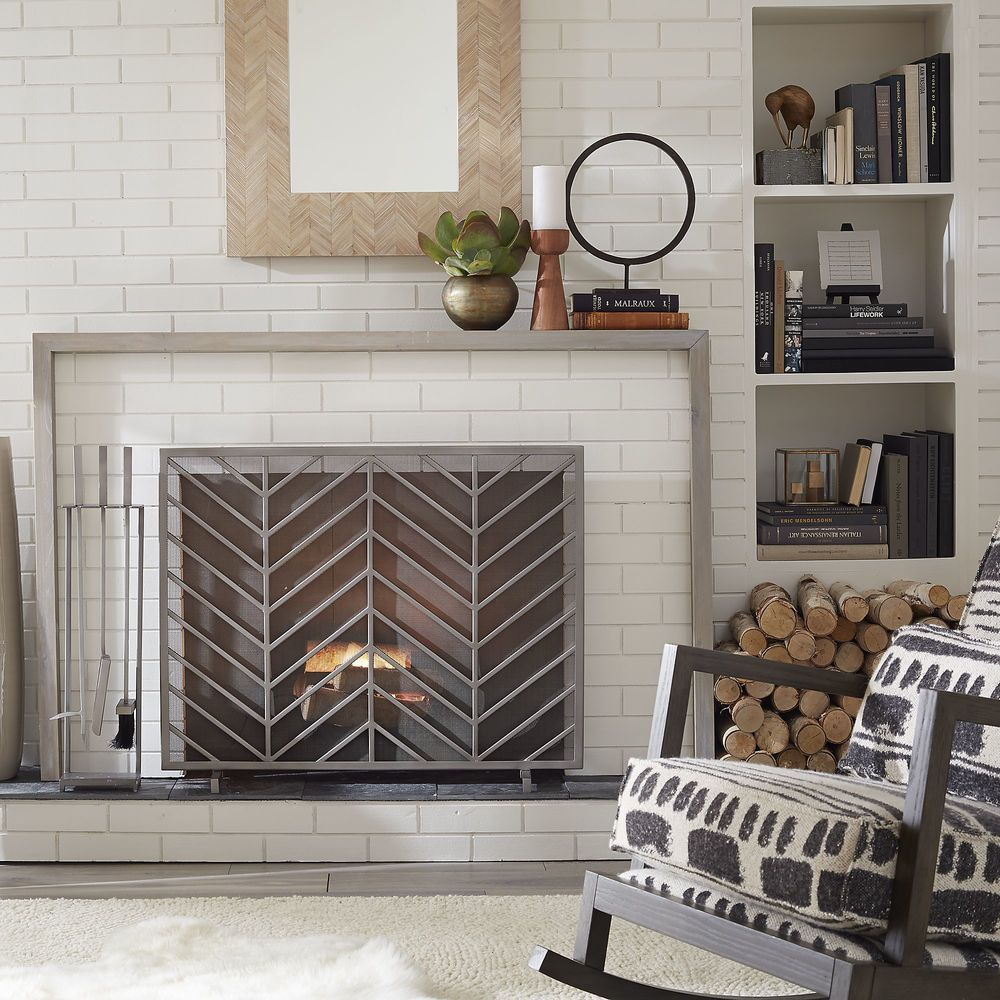 Country Gray Rocking Chair Set Near White Fireplace Tile With Custom Chevron Iron Fireplace Screen Near Tool Kit Custom Fireplace Screen Ideas Decoration