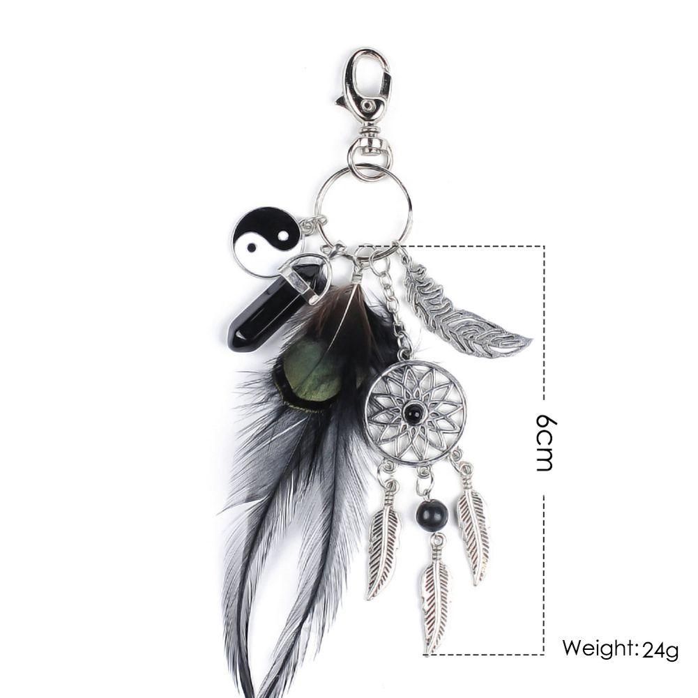 Super naturale agata nera portachiavi d'argento di modo della piuma dreamcatcher portachiavi per le donne boho monili DM #6