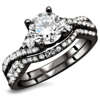 18K Black Gold 1.25ct TDW Certified Round Diamond 2-Piece Bridal Ring Set (