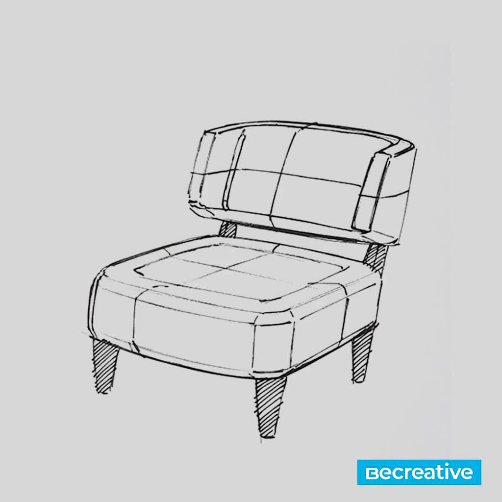 Perspektif Sandalye Çizimi Karakalem