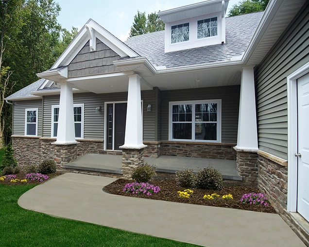 ohio custom ranch style floor plan by wayne homes - Craftsman Ranch Home Exterior