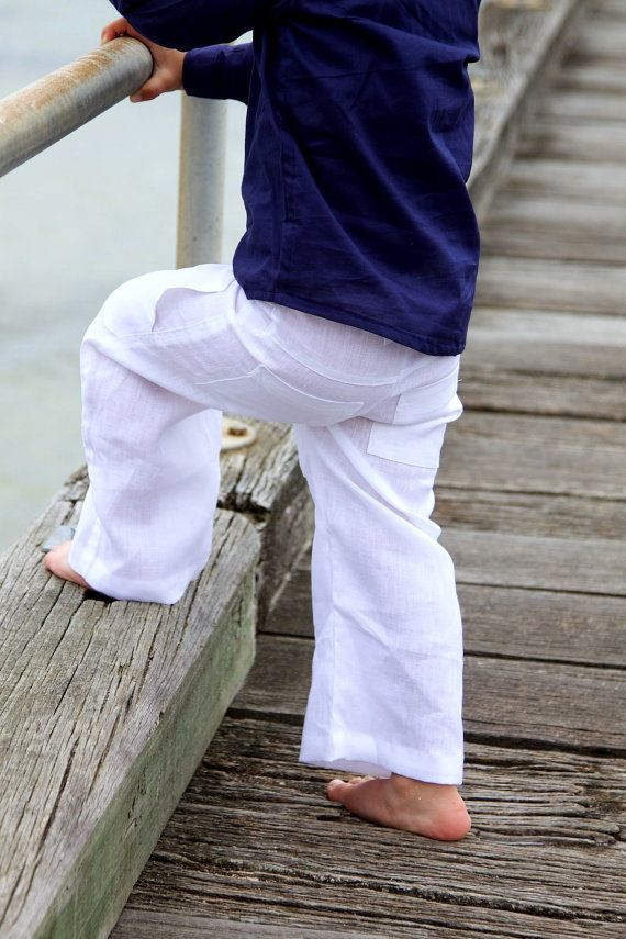 boys linen pants l size 3 l pure white linen by littlestarclothing ...