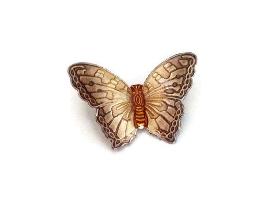 Butterfly Brooch Metal with Enamel