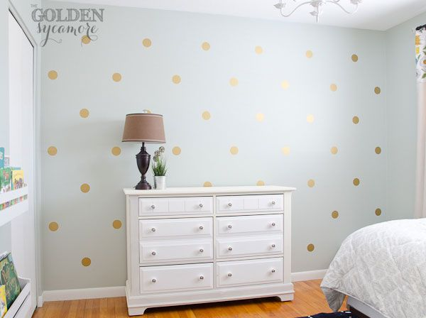 DIY Gold Polka Dot Wall HOWTO Using Vinyl Stickers From House Of - How do you put a wall sticker on