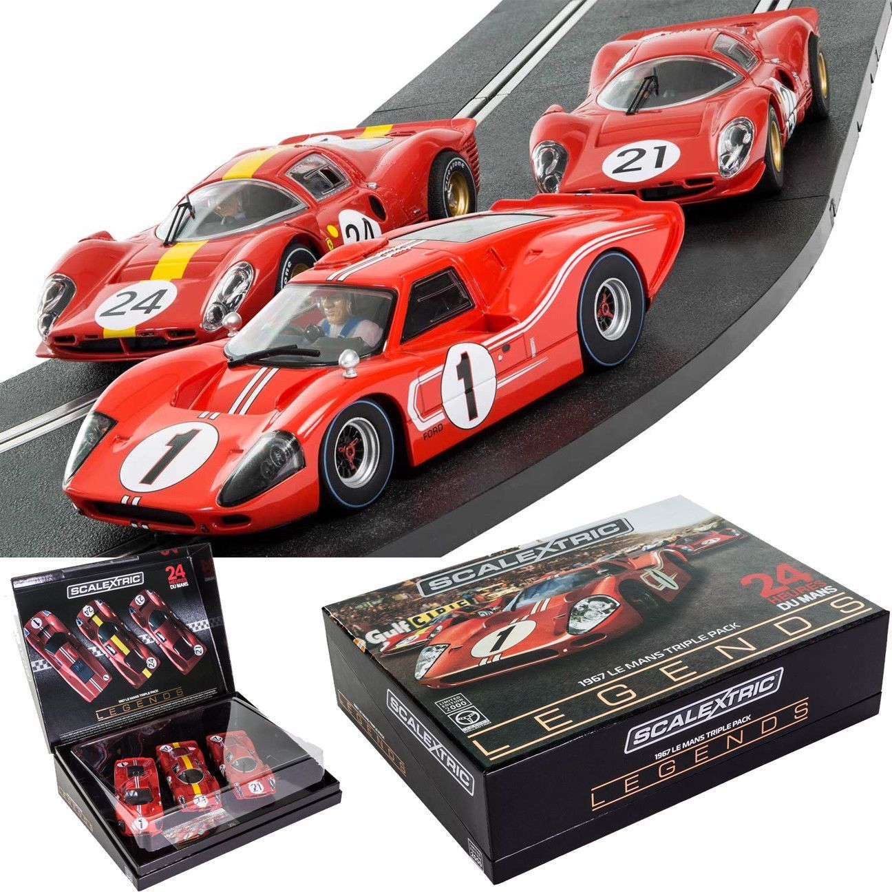 1970 Now 4781 Scalextric 1967 Le Mans Ford Gt40 Mkiv And Ferrari