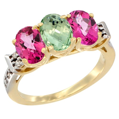 10K Yellow Gold Natural Green Amethyst & Pink Topaz Sides Ring 3-Stone Oval 7x5 mm Diamond Accent, size 7.5, Women's