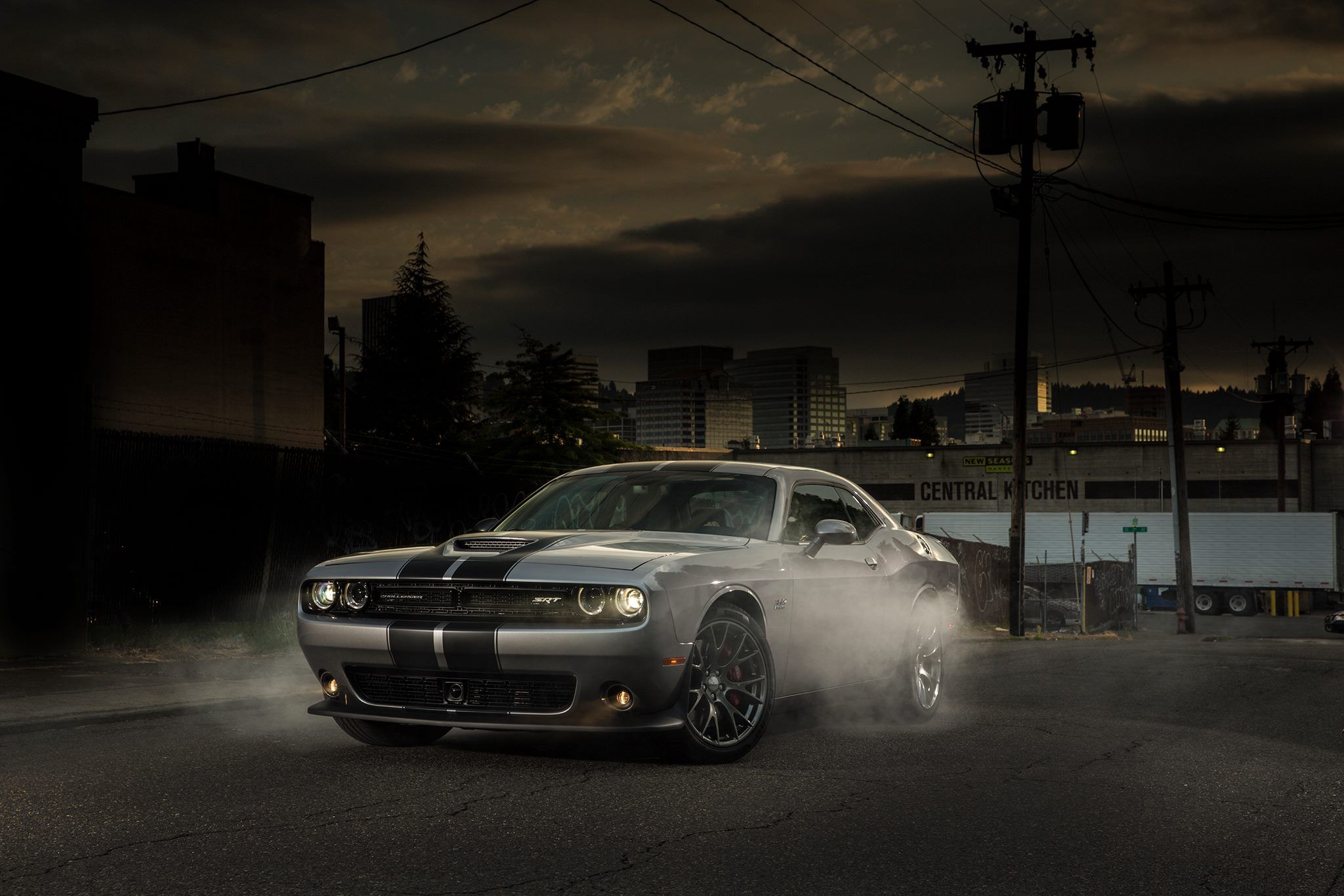 Challenger SRT® 392 Includes A Functional Hood Scoop And High Intensity  Discharge (HID) Headlamps. Shown In Granite Crystal With The Available Twin  Black ...
