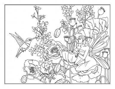 ein kostenloses ausmalbild einer kleine elfen auf blumen und ein kolibri. das ausmalbild steht