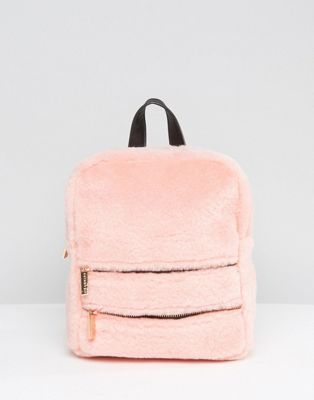 Skinnydip Blush Faux Fur Double Zip Backpack