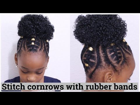 4 Stitch Cornrows Using Rubber Bands For Kids Youtube