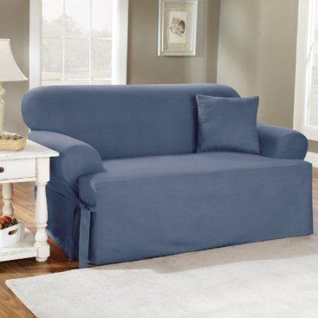Amazon Com Sure Fit 139727269b S Bstn Duck Solid T Cushion Sofa Slipcover Bluestone Home Kitche Cushions On Sofa Slipcovers For Chairs Loveseat Slipcovers