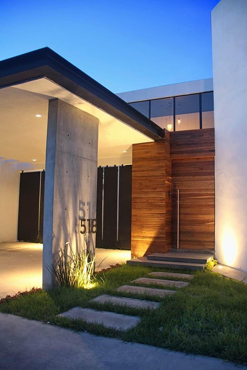 Acceso principal casas de estilo por narda davila for Archi in casa moderna
