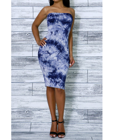7dc81749e36 Tube top simple tie-dye bodycon dress with elastic band inserted on the top  for