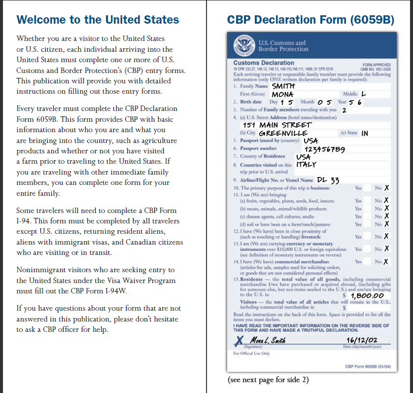 usa Custom Declaration Form - ค้นหาด้วย Google | San Francisco ...
