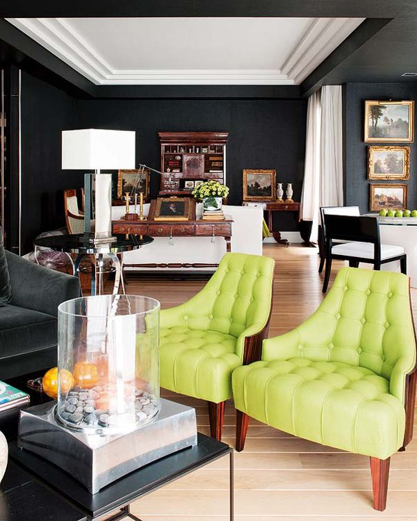 Awesome chairs! Lime green tufted mid-century chairs, black walls ...