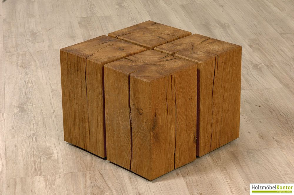 Couchtisch cube by 4 holzbl cke for Design couchtisch vollholz