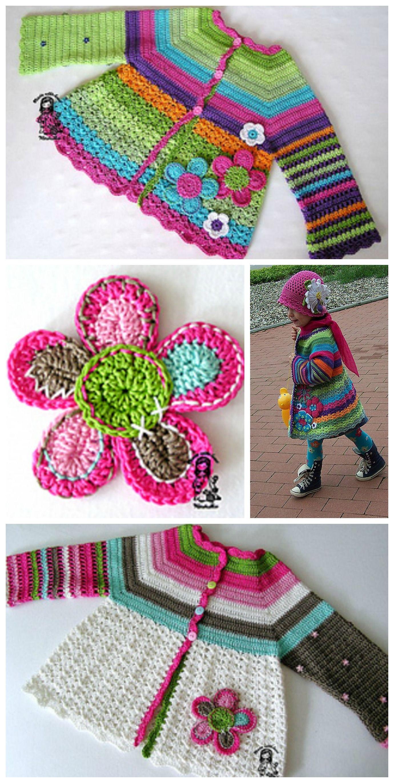 Girls Crochet Flower Cardigan - Free Pattern | More 4 Baby ...