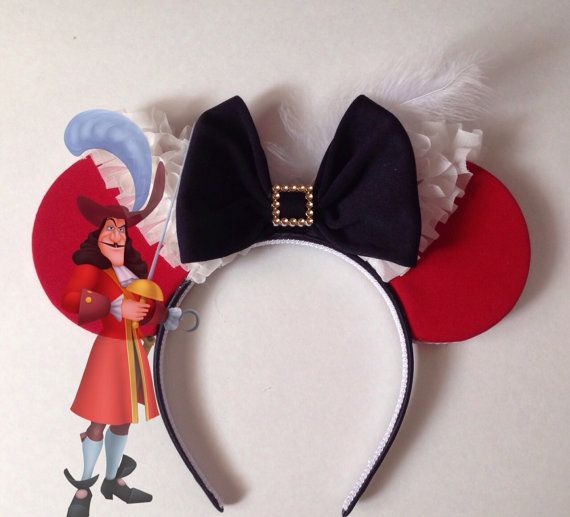7de8a724a1783 Disney s Peter Pan Captain Hook Inspired Minnie Mouse Disney Ears Source  Etsy by seamcometrue