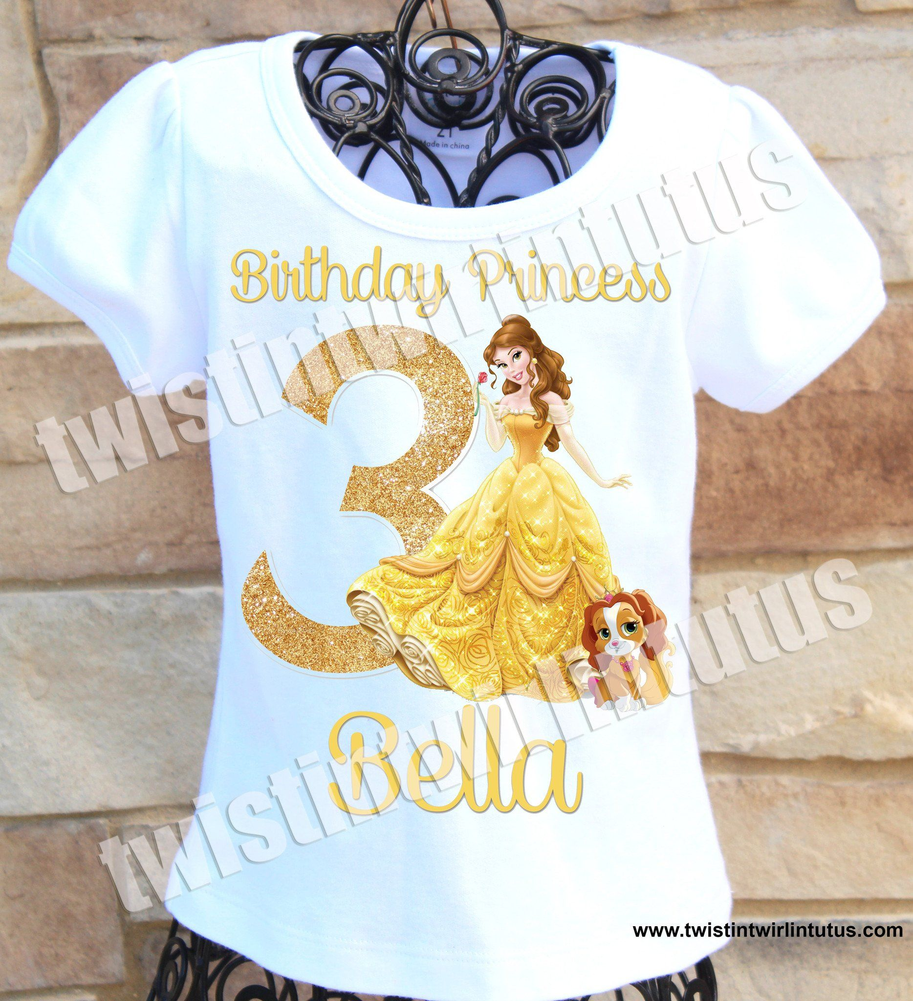 Belle|Beauty and the Beast Shirt,|Glittery Red Number 5|Birthday Shirt