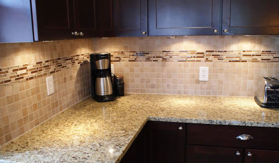 Glass And Stone Mosiac Backsplash Wolf Custom Tile And Design