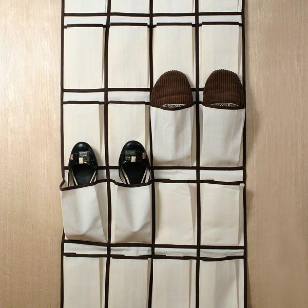 Organizador de zapatos colgante con 26 bolsillos en lienzo - Organizador de zapatos casero ...