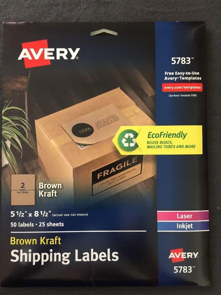 Avery (5783) Brown Kraft Shipping Label 5.5