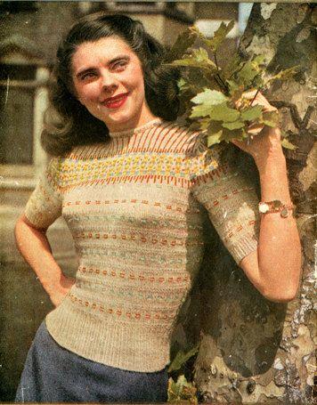 "1940s ""Dundee"" Vintage Fairisle Sweater Knitting Pattern PDF ..."