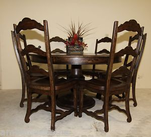 Tuscan Old World 54 Round Pedestal Dining Table and 6 Chairs