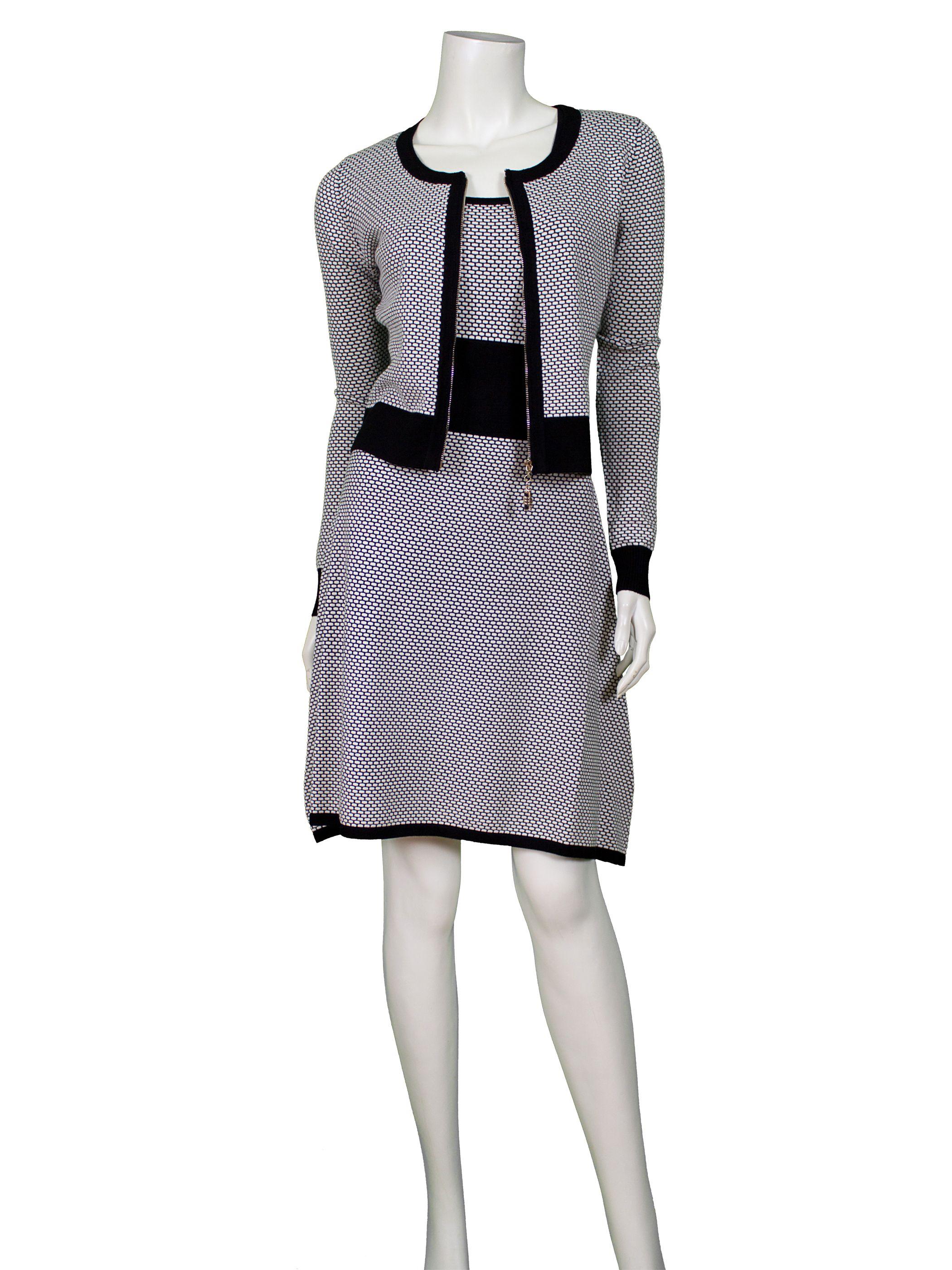 strick kleid 2-tlg., schwarz silber - online shop