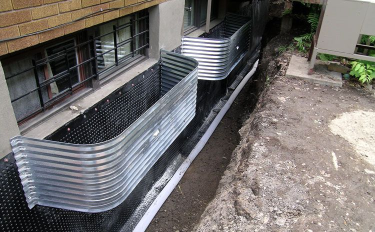 Foundation waterproofing drain pipe residential drainage pinterest for Exterior foundation drainage solutions