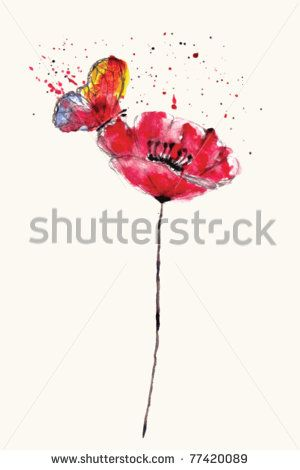 Stylized painted watercolor poppy flower with bright butterfly, VECTOR