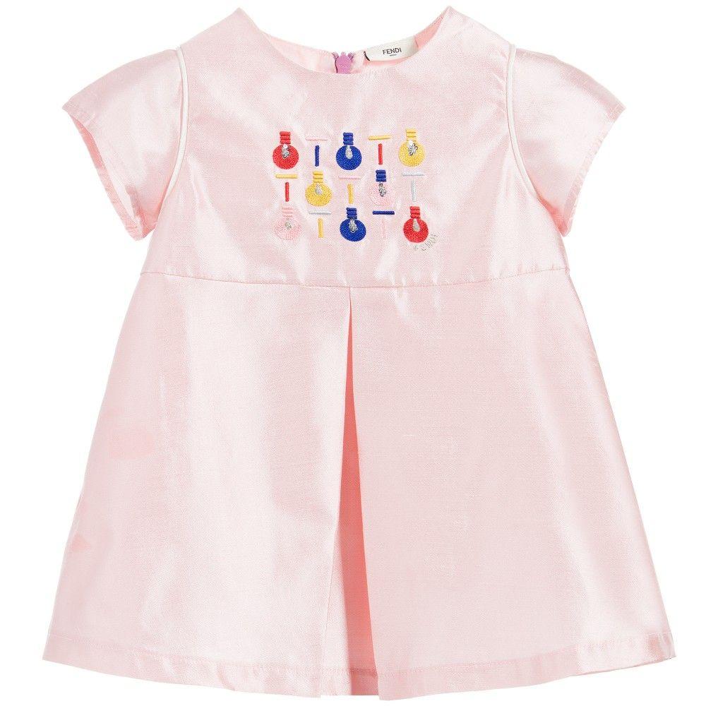 Fendi baby girls pink shot silk ulightbulbu dress at childrensalon