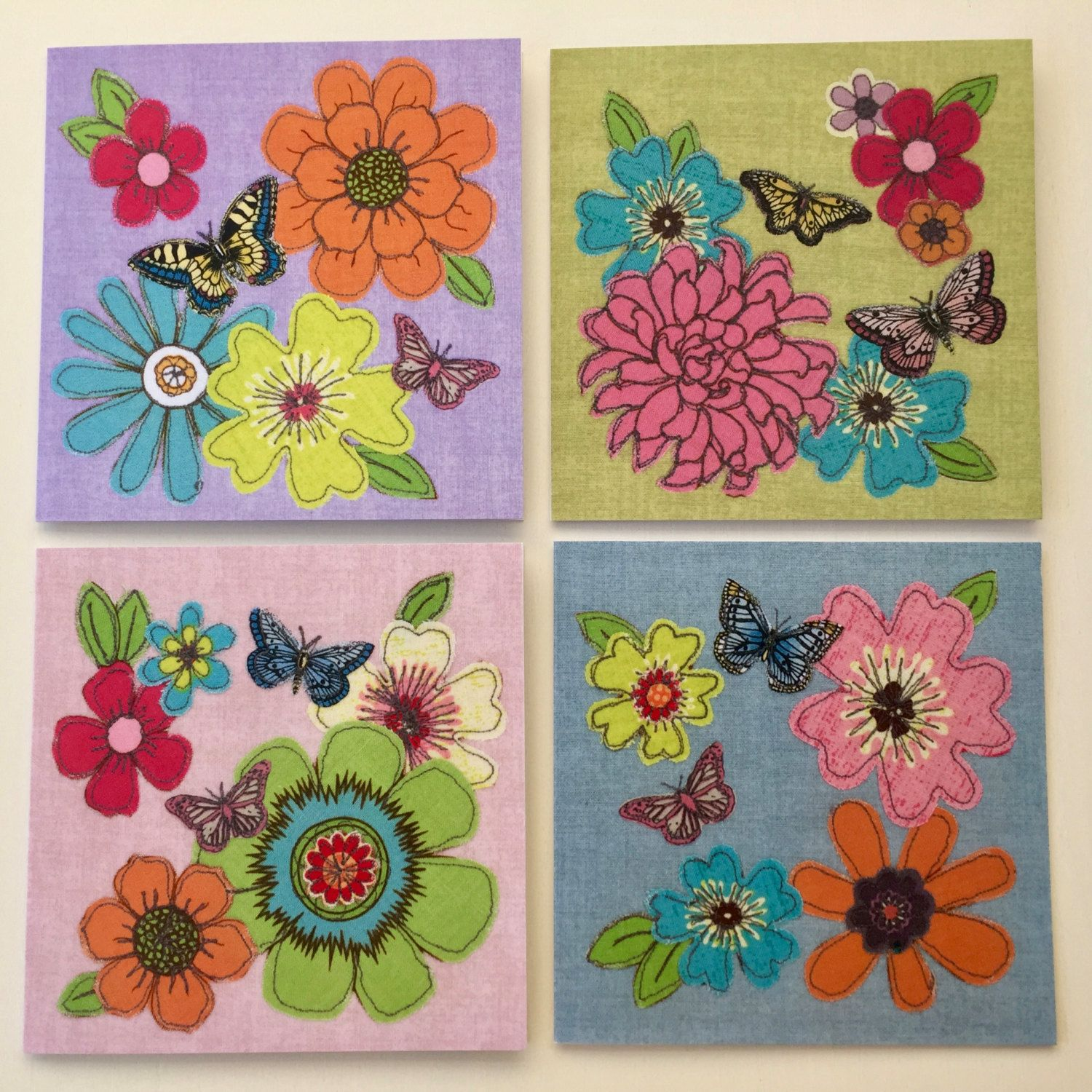 Set of 4 greeting cards all occasion cards free motion set of 4 greeting cards all occasion cards free motion embroidery flowersbutterflies kristyandbryce Image collections